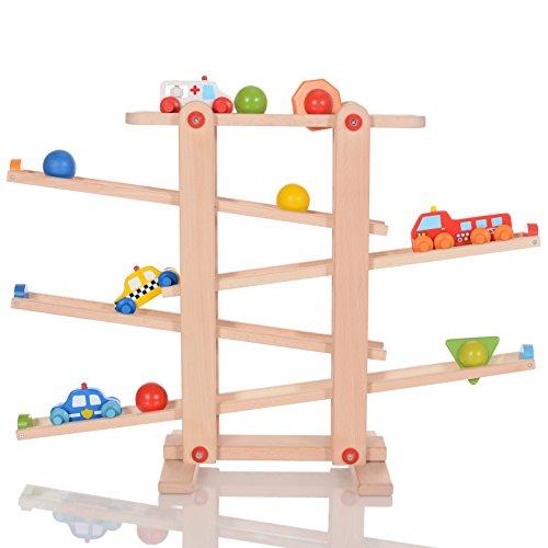 LCP Kids Auto Holz-Kugelbahn Spielzeug für Kinder ab 1 Jahr mit 10 Rollelementen