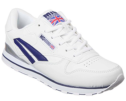 Mens White & Navy Classic Trainers By MIG Size 6 to 11 UK SPORTS CASUAL LEISURE WORK (9 UK)