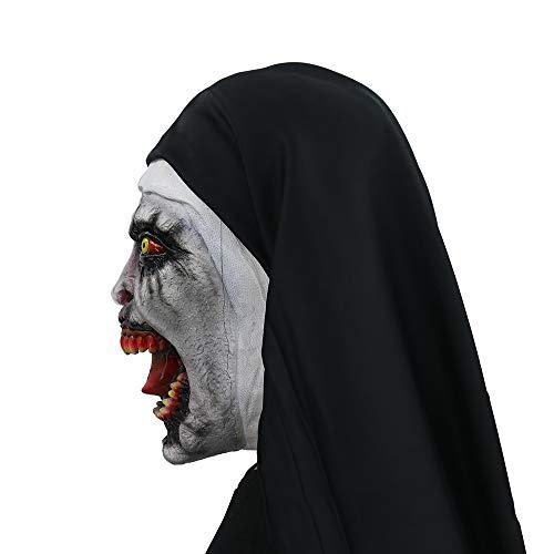 WMIAO Halloween Nun Kostüm Für, Maske Mit Schleier Beängstigende Zombie-Maske (Single-Code) Schrecklich Für Halloween-Kostüm Party