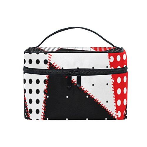 ALAZA Sac cosmétique Pois rouge blanc et noir Suture ligne Imprimer Maquillage Voyage cas de stockage organisateur