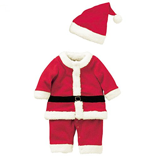 KINDOYO Baby Weihnachten Kleinkind Lange Ärmel / Kurze Ärmel Fancy Party Kleid Kostüm Tutu Outfit Santa Neujahr Outfits Jungen & Mädchen Kinder Weihnachtsmütze übersatz Jumpsuit Set , Rot