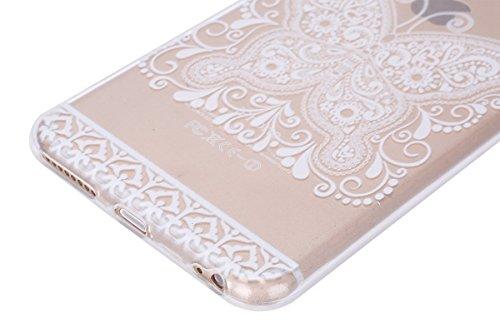 Apple iPhone 6s plus Soft Silicone Tpu Coque Mode,Transparent Coque pour iPhone 6 plus,Ekakashop Ultra Mince Jolie Ciel Forêt Design Souple imprimée Etui Housse de protection Cristal Clair Gel Case Pr Papillon Blanc