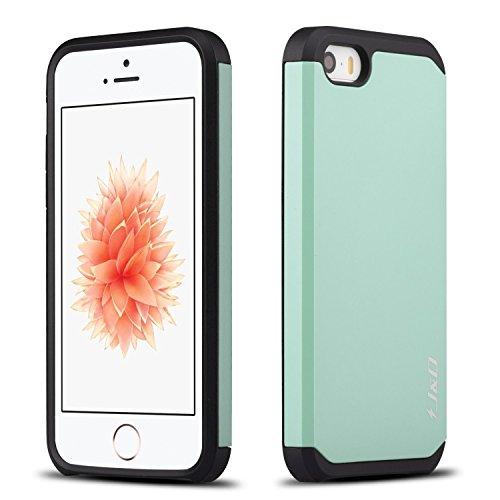 Coque iPhone SE, J&D [ArmorBox] [Double Couche] Coque de Protection Robuste Antichoc et Hybride pour Apple iPhone SE - Noir Turquoise