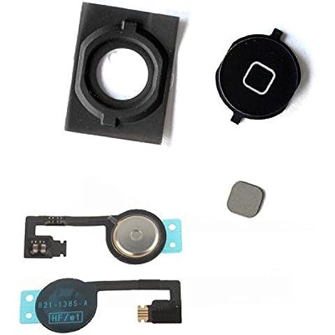 Tasto home nero completo di cavetto flat elettronico per iPhone (Di Tasti)