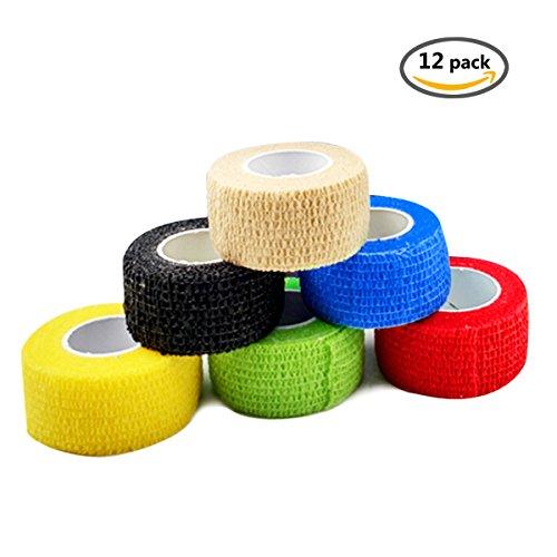 FOU Haftbandage Cohesive Bandage Multicolor 12 Rolls 2.5cm*4.5m Selbsthaftende Bandage Medizinische Klebeverband Elastische Qualitäts-Bandage für Sport, Freizeit, Physiotherapie und Medizin (Dusche Roll-in)