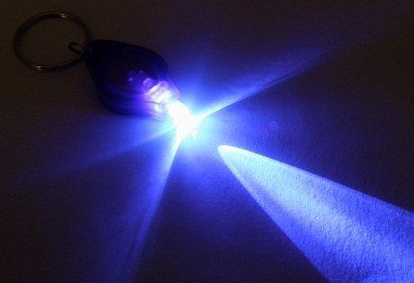 Violet Mini UV LED lampe torche 395nm Campells Porte-clés