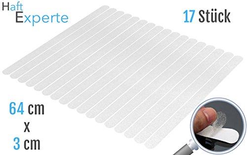 Haftexperte | 17 Premium Selbstklebende Transparente Anti Rutsch Streifen Treppe | Für die perfekte Anti Rutsch Treppe | 64cm x 3cm | Alternative zu Antirutschmatte und Stufenmatten
