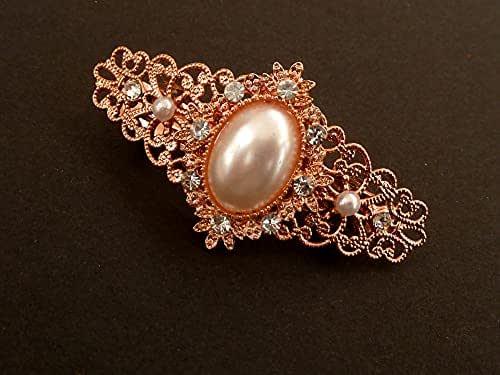 Piccolo fermaglio per capelli con strass e perle nei colori oro rosa