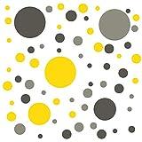 timalo® Wandtattoo selbstklebende Punkte Aufkleber | 73071-Tricolore-Dgrau-grau-gelb-81