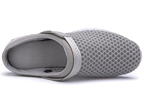 Unisex-Erwachsene Breathable Mesh Hausschuhe Sandalen Freizeit Clogs und Pantoletten Schuhe Sommer Grau