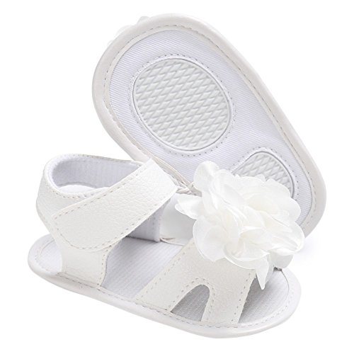 MiyaSudy Baby Schuhe Kleinkind Mädchen Sandalen Blumen Weichen Sohlen Prinzessin Schuhe Weiß