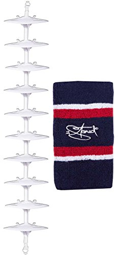Cap-Rack Pro Kappenhalter in Weiß mit 10 Clips zum Aufhängen von bis zu 30 Baseball Caps + Zugabe von 2Stoned
