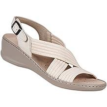 Aerosoft fabija stretch confortable beige sandale-même pour hallux valgus haut du cou de pied