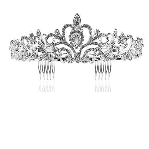 Tinksky Mariage Tiara avec peigne leuchtenden strass cristal mariée diadèmes Bandeau (Argent)