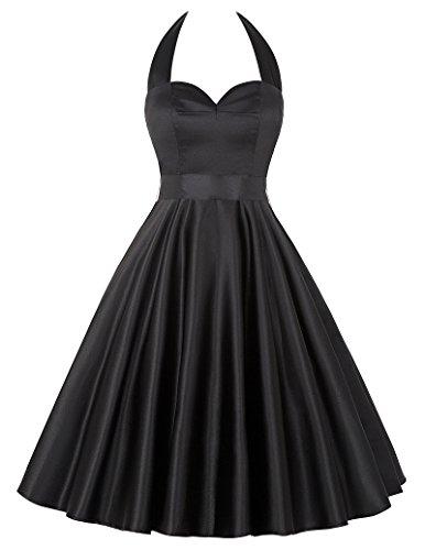 Damen Retro Vintage Knielang Neckholder Partykleid Abendkleid Schwarz S