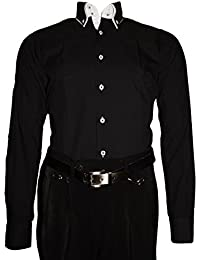 Pierre Martin Paris Herren Designer Hemd Langarm tailliert klassischer 2  Kragen 2 Knopf Slim Fit 96dd166ce5