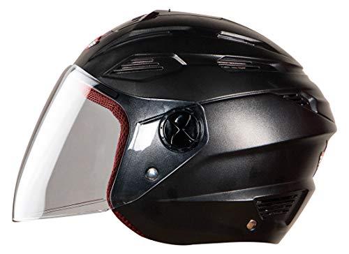 Steelbird SBA-6 7Wings Fuze Dashing Open Face Helmet for Boys with Plain Visor (Medium 580 MM, Dashing Black)