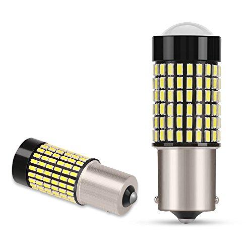 2x 1156 BA15S P21W Lampadine LED 144 SMD 3014 Retromarcia Auto, Luce Freno 12V 7,6W 1000LM Bianco 6000K( AGPTEK)