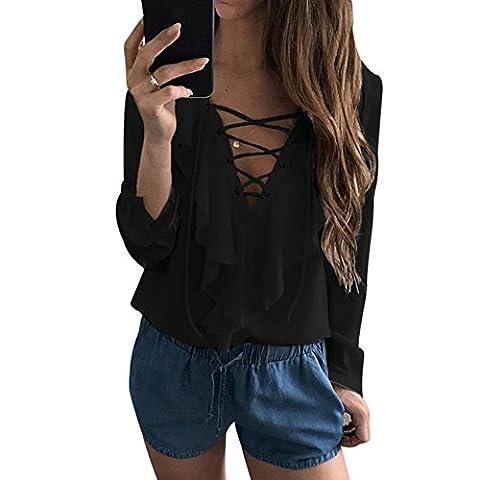 Femmes Chemisier Casual épaule Chemise Dames Sexy Blouse Bande Longue T-shirt Tops à manches Longues Col V Chic Shirt (L, Noir)