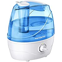 VicTsing Cool Mist Humidifiers with 2.2L Large Water Tank, Ultrasonic Humidifiers with 24 Working Hours, Waterless Auto-Off, 32dB Quiet Air Humidifier for Bedroom, Babyroom, Living Room-White&BLue