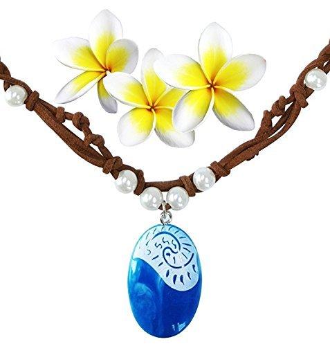 Moana Halskette für Kinder Mädchen Frauen Blaue Anhänger Handgefertigte Webart Seil Kette (Comic Kostüme Für Frauen)