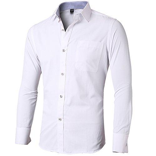 INFLATION Herren Hemd Business Freizeit Langarm Hemden mit Manschettenknöpfe Sanfter Stoff- Gr. L/ EU 42, Weiß-Reine Farbe