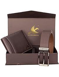 HORNBULL Men's Brown Wallet and Belt Combo BW3095