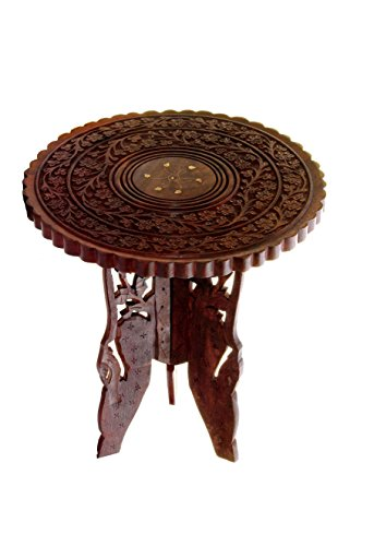 Abheyarts Wooden Round Shape Hand Carving Fold-able Coffee Stool Round End table 15