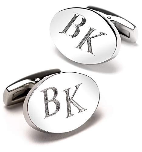 Diamandi Manschettenknöpfe mit Gravur | OVAL | Silber glänzend | Initialen gravieren Lassen | Schmuck für Herren aus Berlin