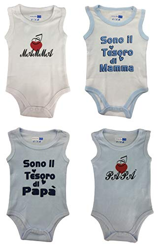 low priced 92d82 dc3ca 4 Body Smanicato Estivo Bimbo Neonato Bambino in Cotone - (Pacco da 4)  (9-12 mesi/74-80 cm)