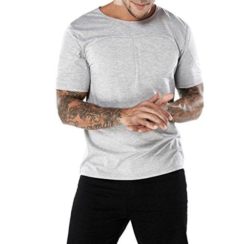 UFACE Herzförmige Brustmuskeln Verziert Männer Rundhals Kurzarm-T-Shirt Mode Männer Casual Schlank Kurzarm T-Shirt Muscle Top Bluse (XL, Grau) (Ausschnitt Herzförmiger Jacke)