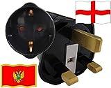 Urlaubs Reiseadapter England für Geräte aus Montenegro Kindersicherung und Schutkontakt 250 Volt