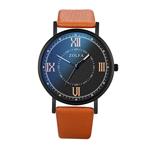 Fenverk Herren Mode Wasserdicht Sport Analog Quarzuhr Männer Geschäft Braun Leder Armbanduhr (Braun)