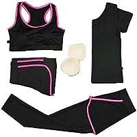 Blancho Bedding Sistema de Entrenamiento de Fitness, Trajes de Jogging de 4 Piezas de Las Mujeres, Traje de Yoga
