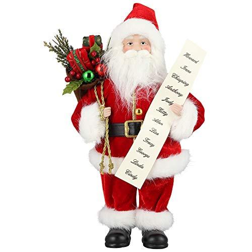 Zogin Weihnachtsdeko Figuren Weihnachten Dekoration Weihnachtsmann Figur Deko Nikolaus Geschenke für Frauen Männer Kinder, verziert mit Säckchen und Liste (Mit Geschenkliste/30cm)