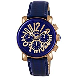 Pocket Women's Quartz Watch with Blue Dial Chronograph Display and Blue Leather Strap PK2056