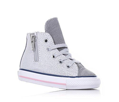 CONVERSE - Baskets gris argenté à lacets, en paillettes et suède, glissière latérale, logo latéral, lacets blancs, coutures visibles, Fille, Filles Grigio