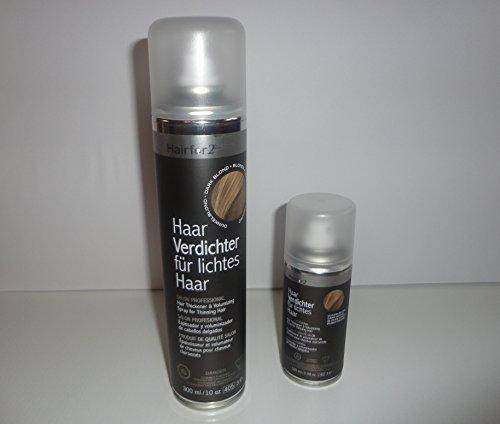Mini & Maxi - 1x 300ml + 1x 100ml Hairfor2 Haarverdichtungsspray (Schwarzbraun)