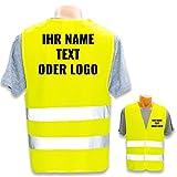 Persönliche Warnweste selbst Gestalten mit eigenem Aufdruck * Bedruckt mit Name Text Bild Logo Firma, Menge:1 Warnweste, Farbe/Position:Gelb/Rücken + Linke Brust