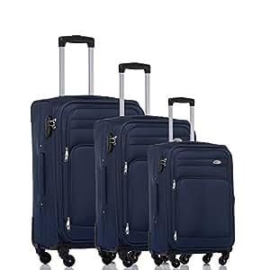 BEIBYE 8005 Stoffkoffer Gepäck Koffer 4 Rollen Reisekoffer Trolley Gepäckset SET in 6 Farben (Blau)