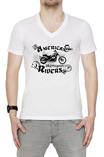 American Riders Uomo V-Collo T-shirt Bianco Cotone Maniche Corte White Men's V-neck T-shirt