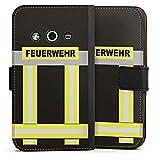 DeinDesign Samsung Galaxy Xcover 3 Tasche Leder Flip Case Hülle Feuerwehr Feuerwehrmann Firefighter