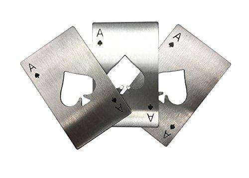 Jolly Edelstahl Kreditkarte Größe Casino Poker Flaschenöffner für Portemonnaie, 3er Pack, 5er Pack, 10er Pack 3pcs