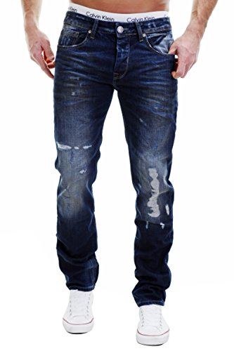 Merish Jeans Herren Destroyed - look 5-Pocket Hose Denim Painted Dark Blue Neu 2096 32-32