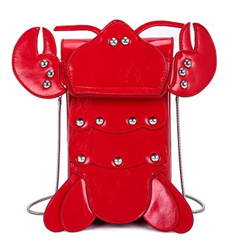 Frauen Umhängetasche PU Leder wasserdicht verschleißfesten Reißverschluss Wilde Mode kreative Hummer kleine tragbare Outdoor-Sportarten große Kapazität Messenger Bag Handtasche