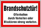 LEMAX® Aufkleber Brandschutztür Offenhalten durch Verkeilen oder Blockieren... 200x3...