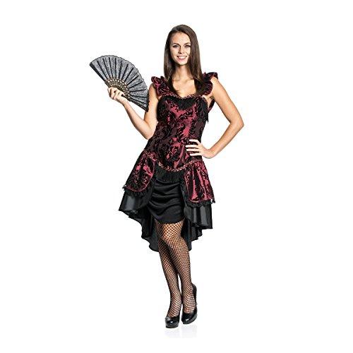 Kostümplanet® Saloon Girl Kostüm Deluxe Damen Kleid Wilder-Westen sexy Faschingskostüm Größe ()