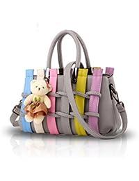 NICOLE&DORIS Women Fashion Colorful Handbag Crossbody Shoulder Purse Tote Shopping Bag Long Handles PU for Ladies
