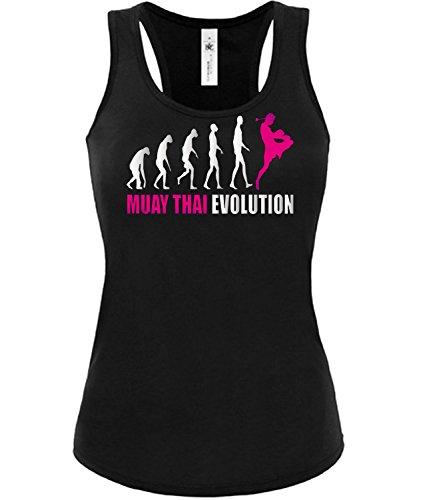 Muay Thai Evolution 2052 Kampfsport Frauen Damen Fun Tank Top Funshirt Tanktop Sportbekleidung Fanartikel Shop shirt tshirt Schwarz aufdruck Pink S