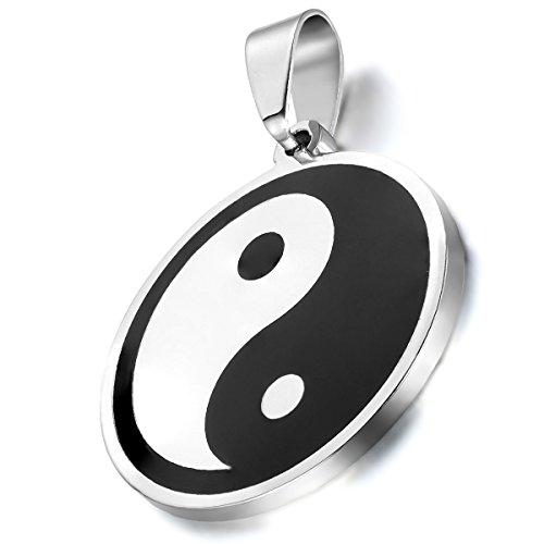 Collar con Colgante Ying Yang con elemento China Tai Chi Acero Inoxidable Cadena Largo 55cm Hombre Mujer